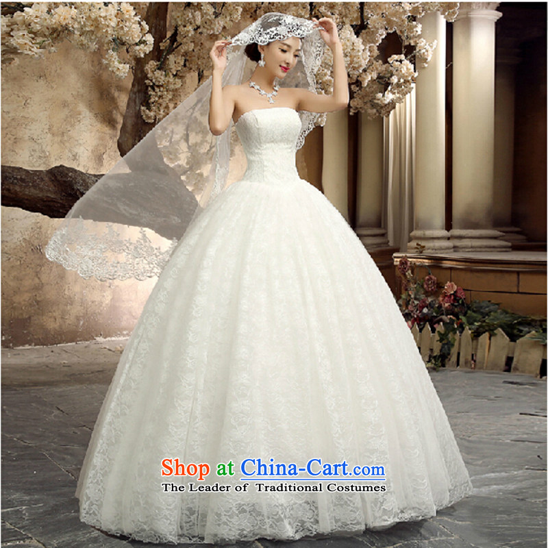 Wedding dresses new 2015 is simple and stylish Asian layout and align to bind the bride chest with lace large wedding white made size do not return Not Switch