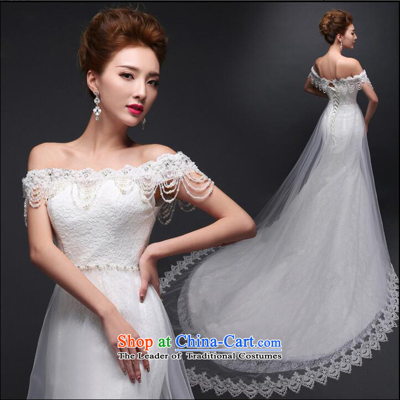 As the Korean version of 2015 on the new word shoulder and chest tail lace align to Sau San crowsfoot code wedding dresses white streaks in the size is not a replacement for a