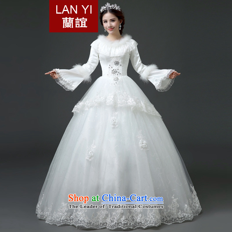 In?2015 winter new friends bride wedding winter of long-sleeved thick wedding Korean version thin winter wedding dresses quality assurance?M code 2 feet waist