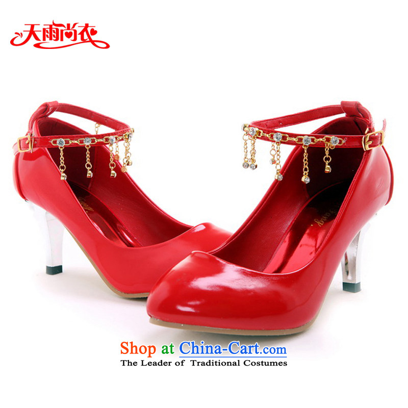 Rain-sang Yi New marriages shoes bridesmaid Shoes Show shoes Dance Shoe multi-color options the the high-heel shoes XZ067 Red 37