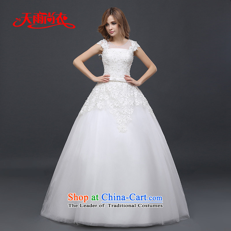Rain-sang yi�2015 winter new married women dress shoulders Korean version of large numbers of thin lace align graphics to wedding HS937 White�M