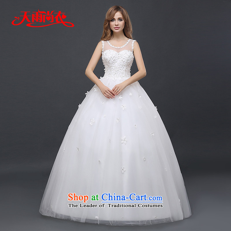 Rain-sang yi?2015 winter new marriages shoulders dress code version of large Korean video thin white wedding straps and sexy decals?HS939?white?L