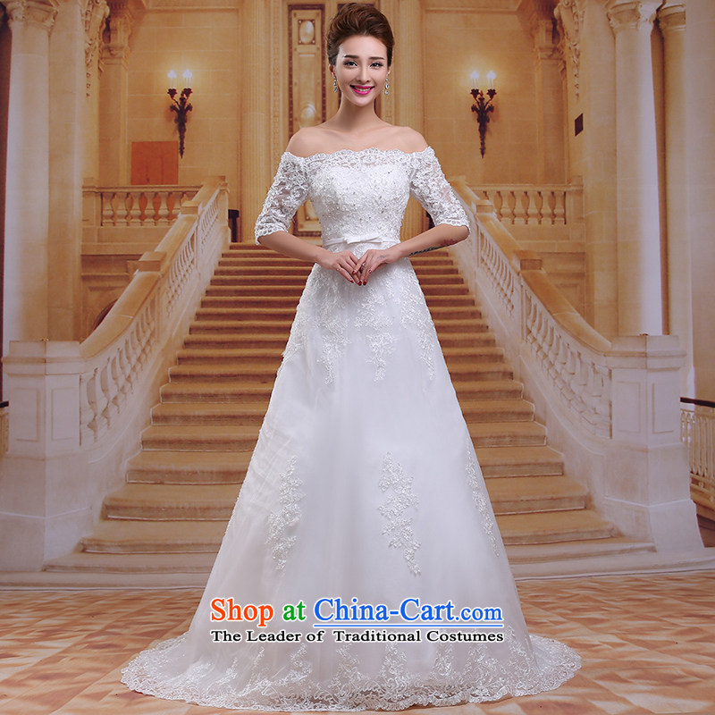 Tim hates makeup and Korean version of the new 2015 strap tail wedding a field in the shoulder larger cuff bon bon skirt bride Princess Bride wedding dresses wedding winter S019 White?XL