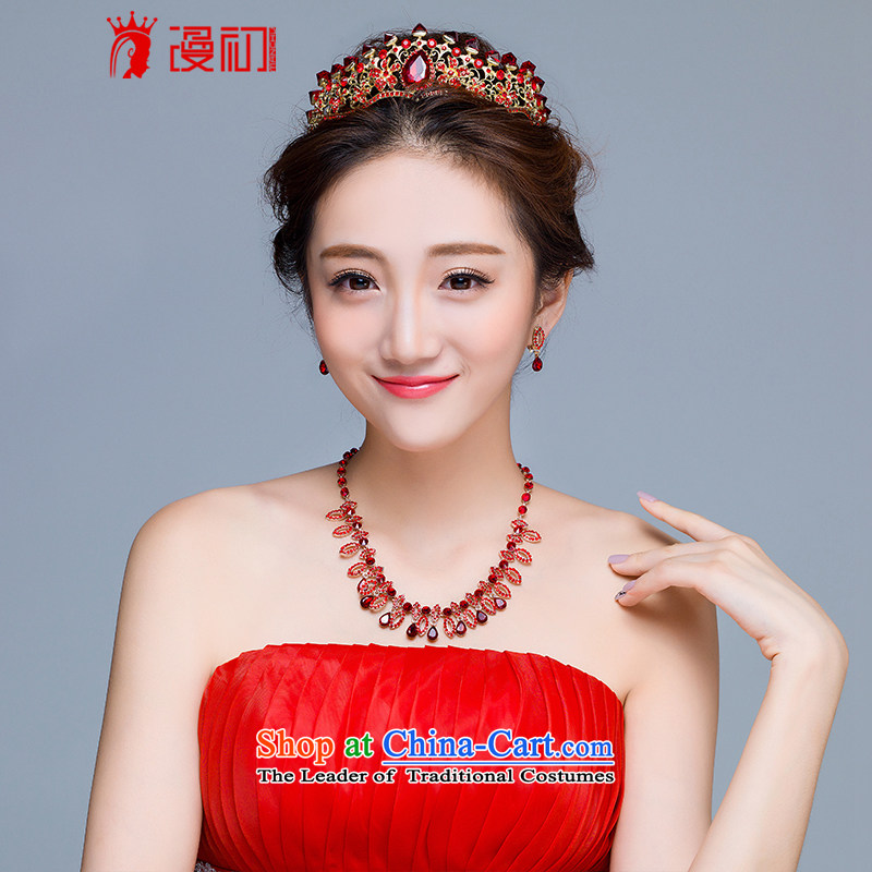 In the early 2015 new man marriages ornaments red crown princess necklaces, earrings kit wedding dresses accessories crown earrings necklace kit
