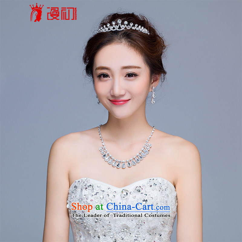 In the early 2015 new man married jewelry luxury water drilling crown necklace earrings kit bride jewelry wedding accessories earrings Necklace