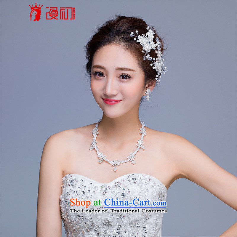 In the early 2015 new man bride jewelry and ornaments butterfly pearl necklaces earrings kit marriage jewelry and ornaments three butterfly