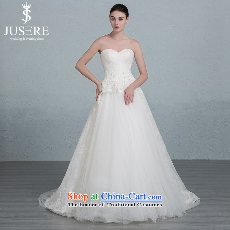 There is a new course-yuk wedding dresses and chest small trailing Sau San lace straps bon bon skirt White?2 code