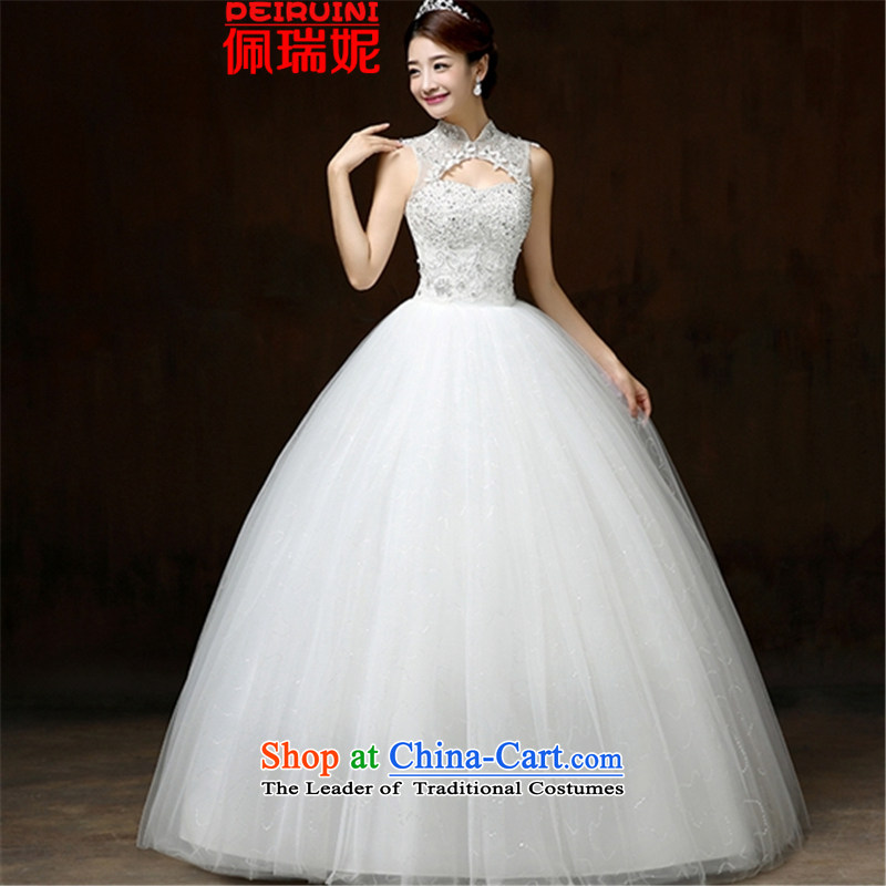 Pei, Connie�New 2015 simple graphics thin to align the collar Chinese shoulders wedding dresses winter white�S