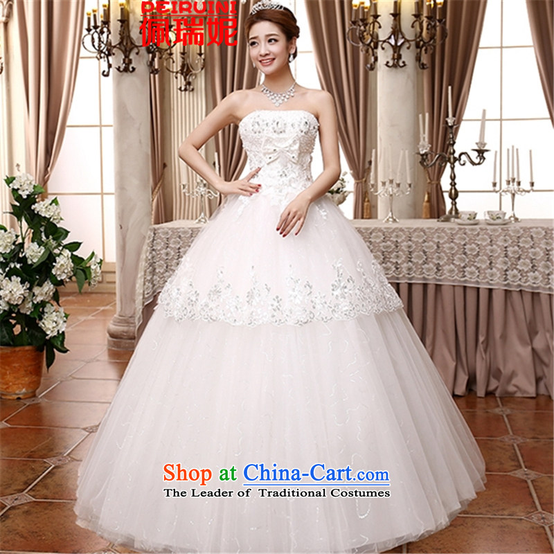 Pei, Connie?New 2015 Sau San video thin wiping the chest white lace on drill palladium wedding dresses winter white?S