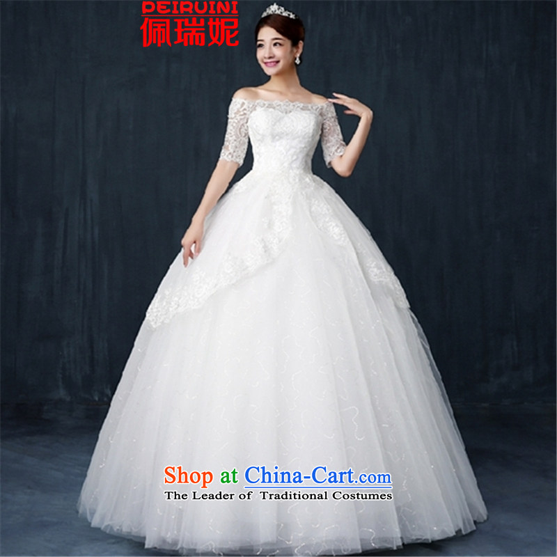 Pei,?2015 New In Connie cuff wedding word shoulder lace threw a long-sleeved dresses winter White?M