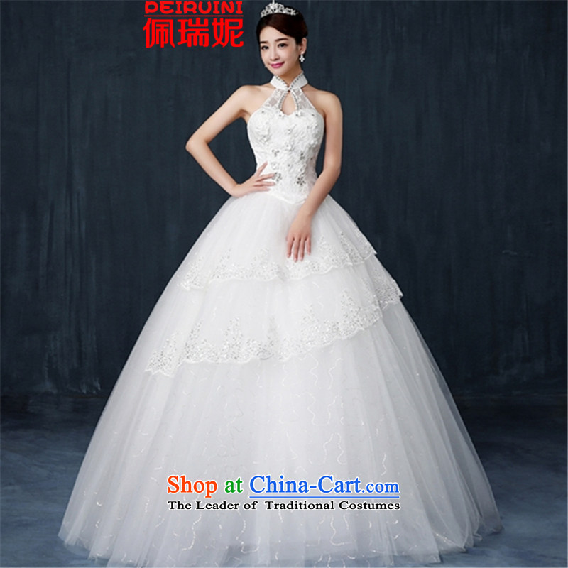 Pei, Connie�New 2015 wedding dresses Korean sweet hang also upscale lace princess skirt to align graphics word thin shoulders white�L