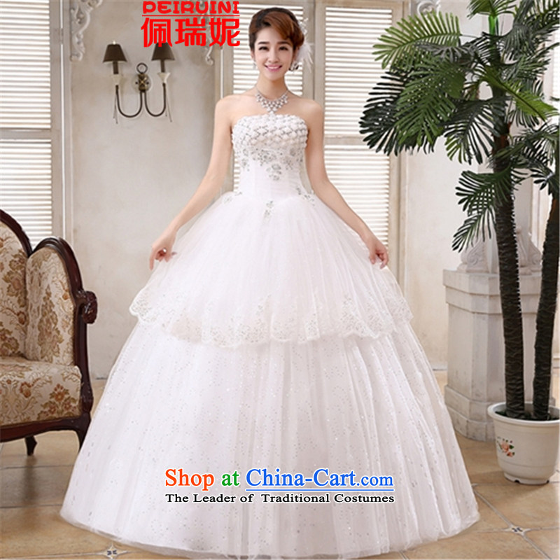 Pei,�2015 New anointed Connie chest to lace straps Sau San video thin wedding dresses winter white�L