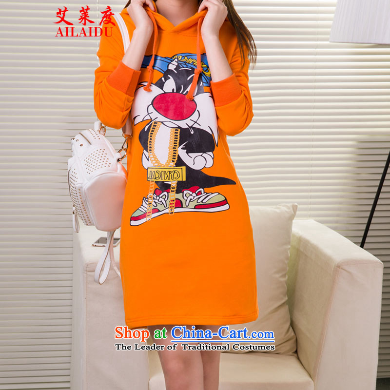 The Aileu degrees 2015 autumn and winter large female stars with jacket, cartoon in long sweater dresses JZX13-1_8606 ORANGE?L