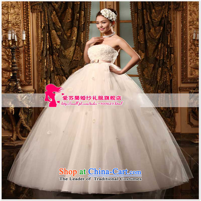 The new Korean Wedding Top Loin of large wedding pregnant woman can wear wedding upscale princess wedding White?M