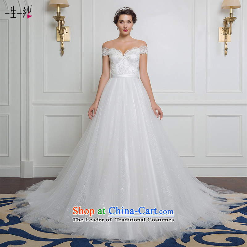 The new 2015 autumn and winter field shoulder tail lace wedding to align Top Loin video thin bride wedding 50150002  165/88A white thirtieth day pre-sale