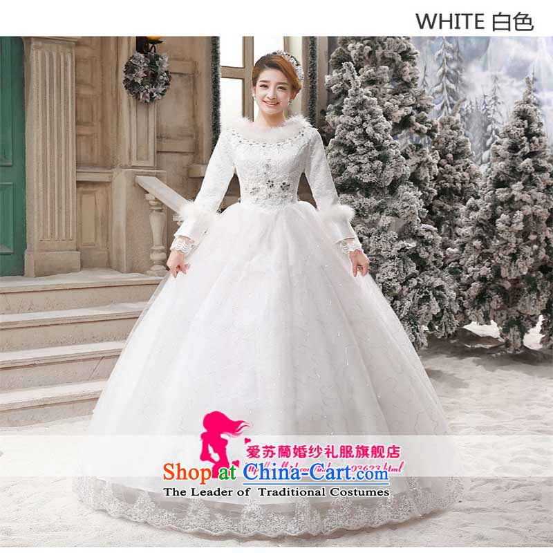 Red bride wedding dresses 2015 new winter Korean to align the large long-sleeved thick cotton Sau San retro white?L