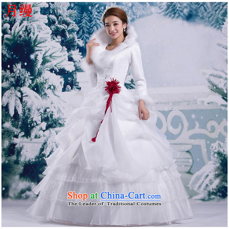 As wedding dresses, 2015 New Korean winter with the cuffs shoulders to align the bride Sau San video thin white wedding made no refunds or exchanges Size