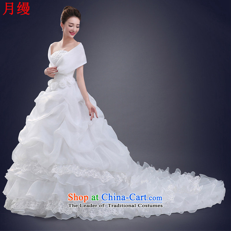 The following new paragraph on 2015 wedding package version won thin waist straps so shoulder to align the princess dress of autumn and winter white white streaks,?XL