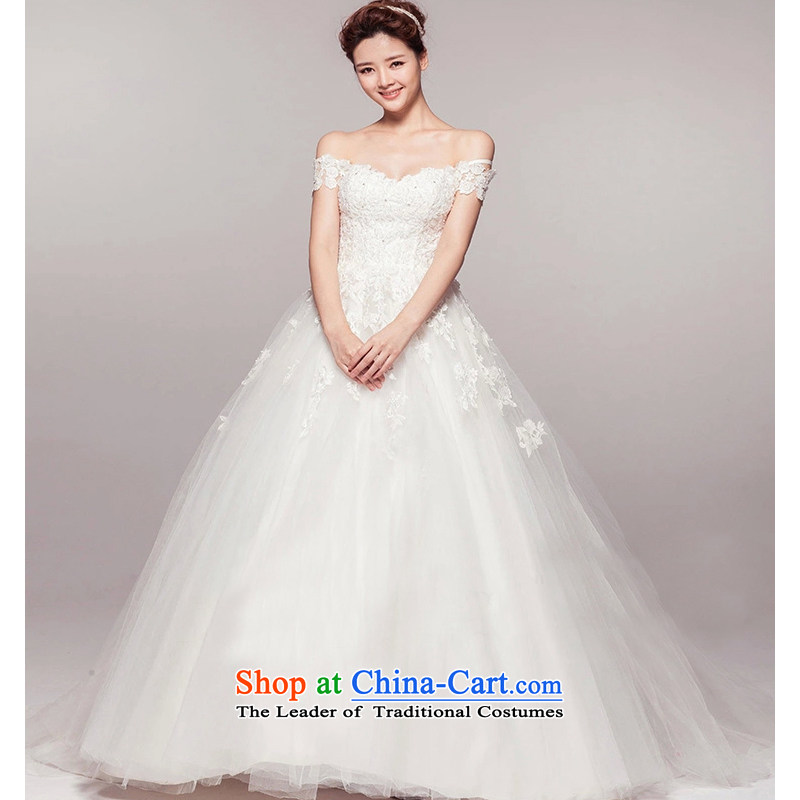As wedding dresses on new Word 2015 shoulder tail lace Sau San Korean video thin large luxury to align the winter wedding white streaks in the size is not a replacement for a