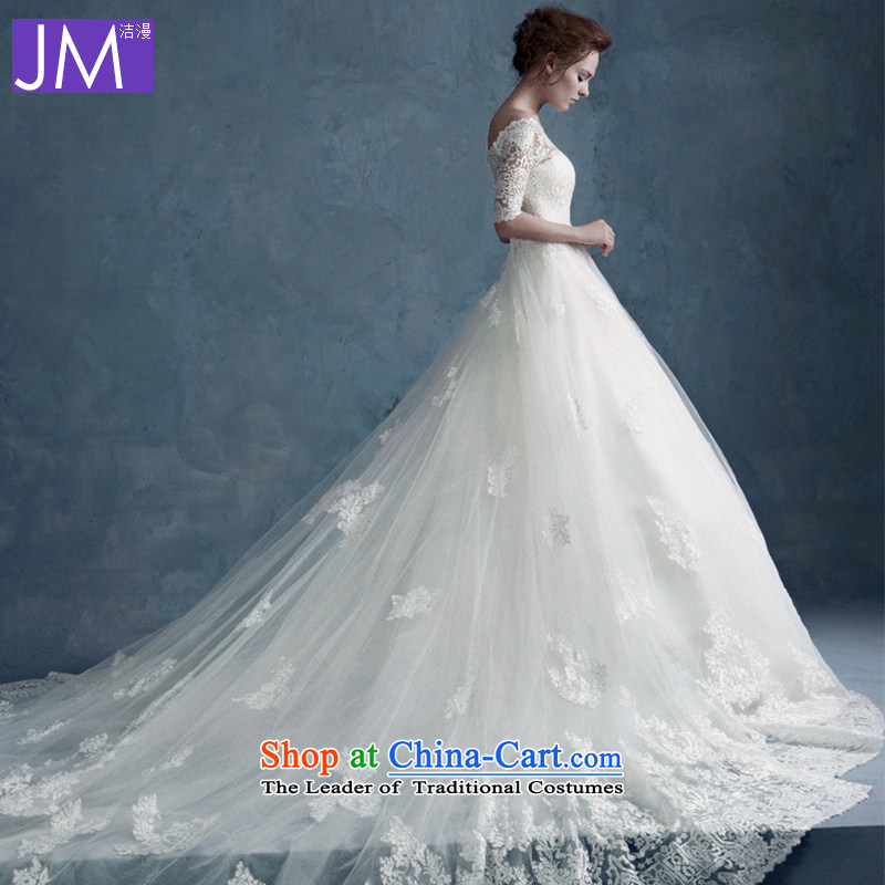2015 Autumn and winter a new field for the bride shoulder wedding dresses long tail align to larger Sau San lace large tail straps, 60CM TAIL?M
