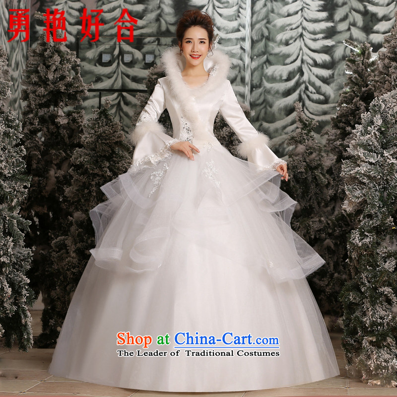 Yong-yeon close alignment with the new 2015 wedding dresses Korean collar large stylish graphics thin bride winter wedding White�M cotton