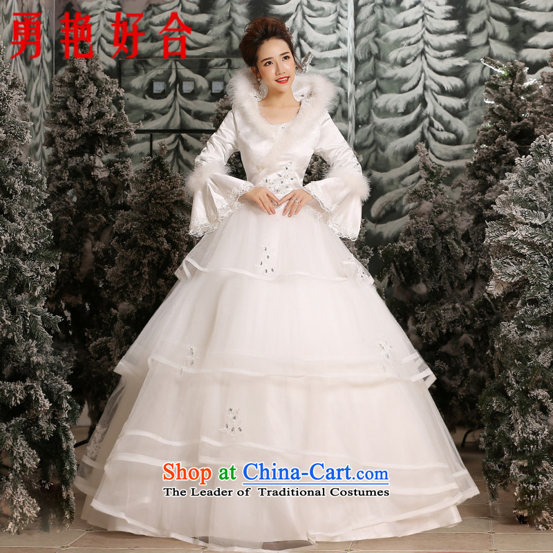 Yong-yeon and 2015 New winter to align the thick bon bon skirt wedding marriages long-sleeved plus cotton wedding made no size White Replacement
