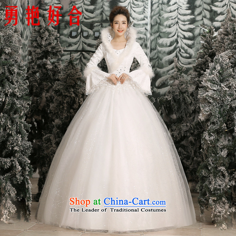 Yong-yeon close alignment with the new 2015 wedding dresses Korean lace collar stylish large graphics thin bride winter wedding white cotton made no refunds or exchanges Size