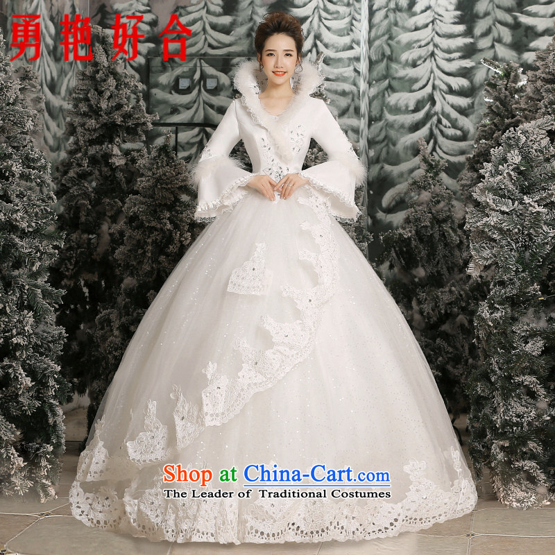 Yong-yeon and 2015 New Korea long-sleeved Pullover alignment to larger bride Wedding Car ancient flower collar autumn and winter, white-made no refunds or exchanges Size