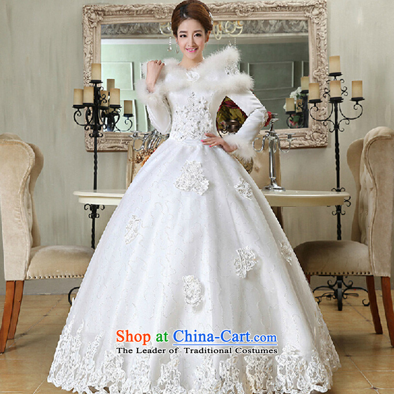 2015 new marriages of autumn and winter stylish Korean word to align the shoulder of long-sleeved wedding dresses thick winter clothing?made of white XXXL does not allow