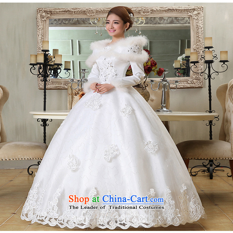 2015 new marriages of autumn and winter stylish Korean word to align the shoulder of long-sleeved wedding dresses thick winter clothingmade of white XXXL does not allow for love, Su-lan , , , shopping on the Internet