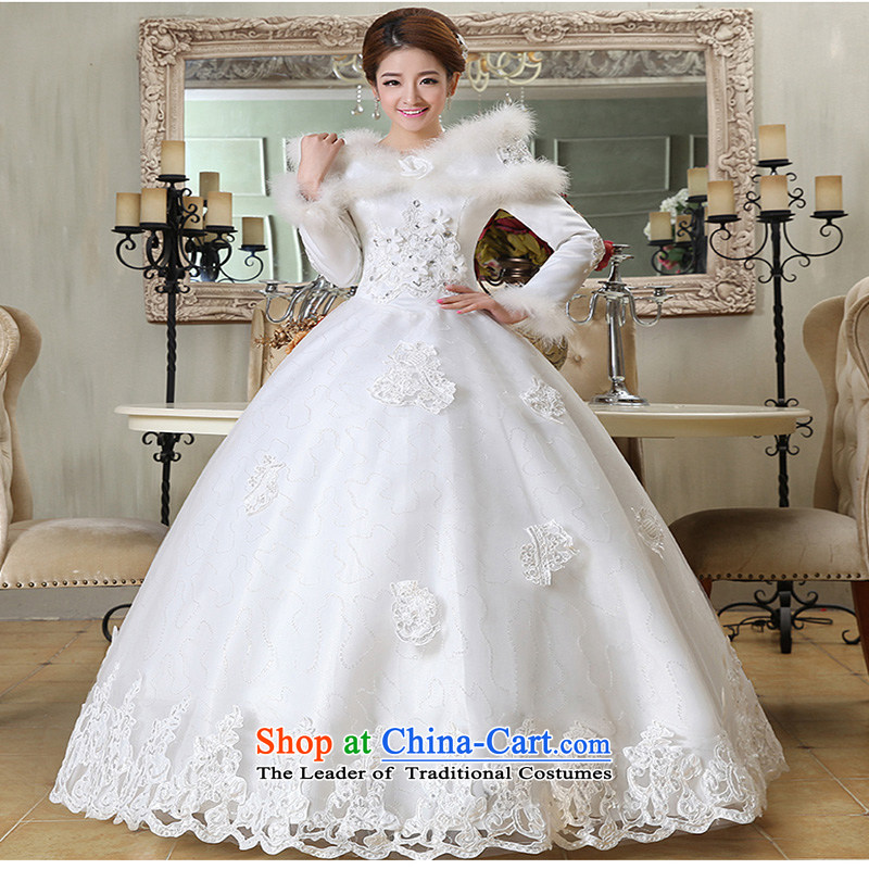 2015 new marriages of autumn and winter stylish Korean word to align the shoulder of long-sleeved wedding dresses thick winter clothing made of white XXXL does not allow for love, Su-lan , , , shopping on the Internet