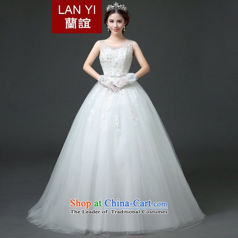Lan-yi marriages wedding dresses 2015 autumn and winter new Korean shoulders round-neck collar align graphics thin, bon bon word straps skirt shoulder winter wedding quality assurance made