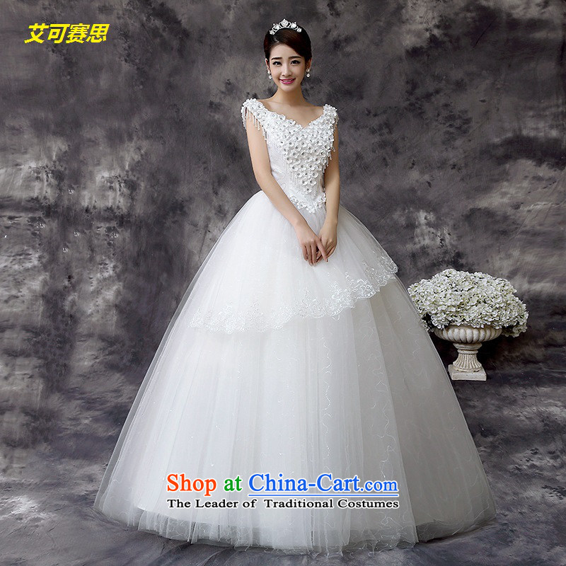 2015 new stylish white V-neck in the buds of Sau San Silk flower-bride wedding HIV can be in XS, white cisco , , , shopping on the Internet