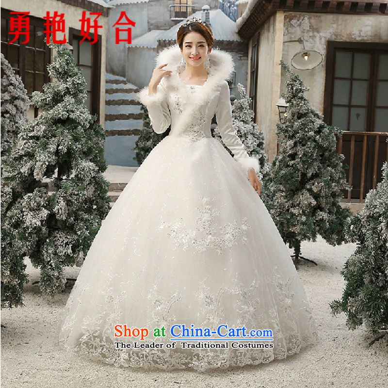 Yong-yeon and 2015 winter version won thin marriages wedding long-sleeved plus cotton winter, bon bon skirt White?M