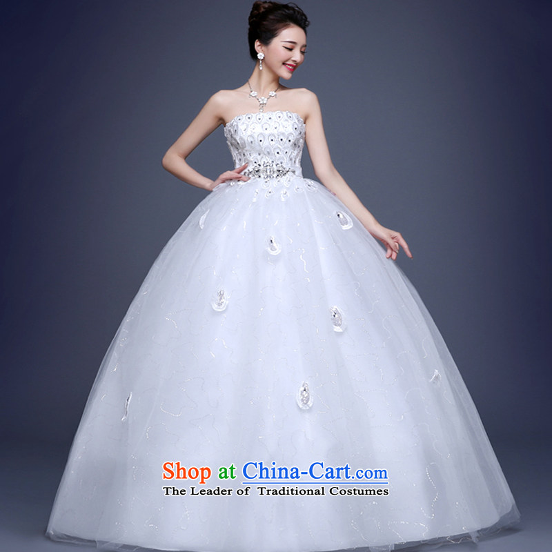 As wedding dresses, 2015 New Korean anointed chest diamond peacock feathers water drilling to align with Princess Sau San white S