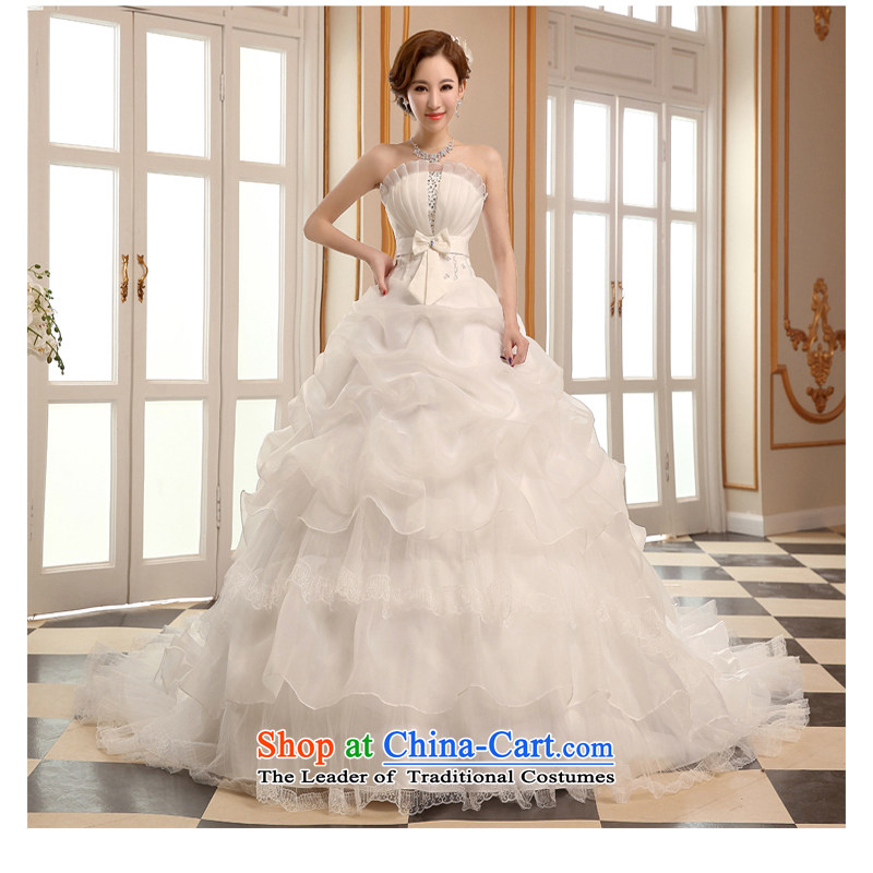 As wedding dresses, 2015 New autumn and winter married long tail Korean style reminiscent of the Sau San video thin wiping the chest to align the large white to make no refunds or exchanges Size