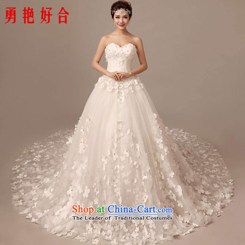 Yong-yeon and�2015 winter new bride flowers wedding dresses long tail and chest Korean large Sau San, align the trailing white streak 1 m 5 do not need to be XXL returning