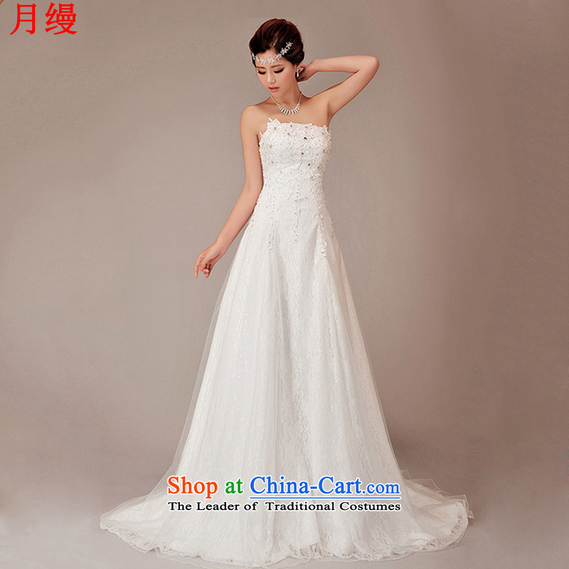 On the following new autumn and winter lace Korean version 2015 new crowsfoot large tail and chest straps bride wedding dresses white�L