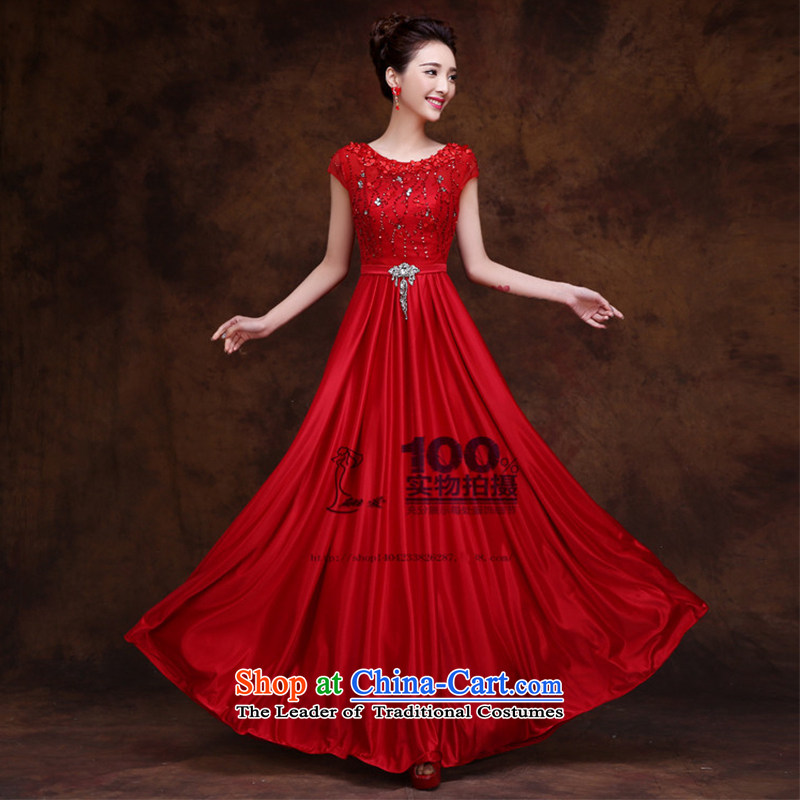 2015 new dresses red door marriages bows service banquet evening dresses long shoulders in spring and summer red XXL