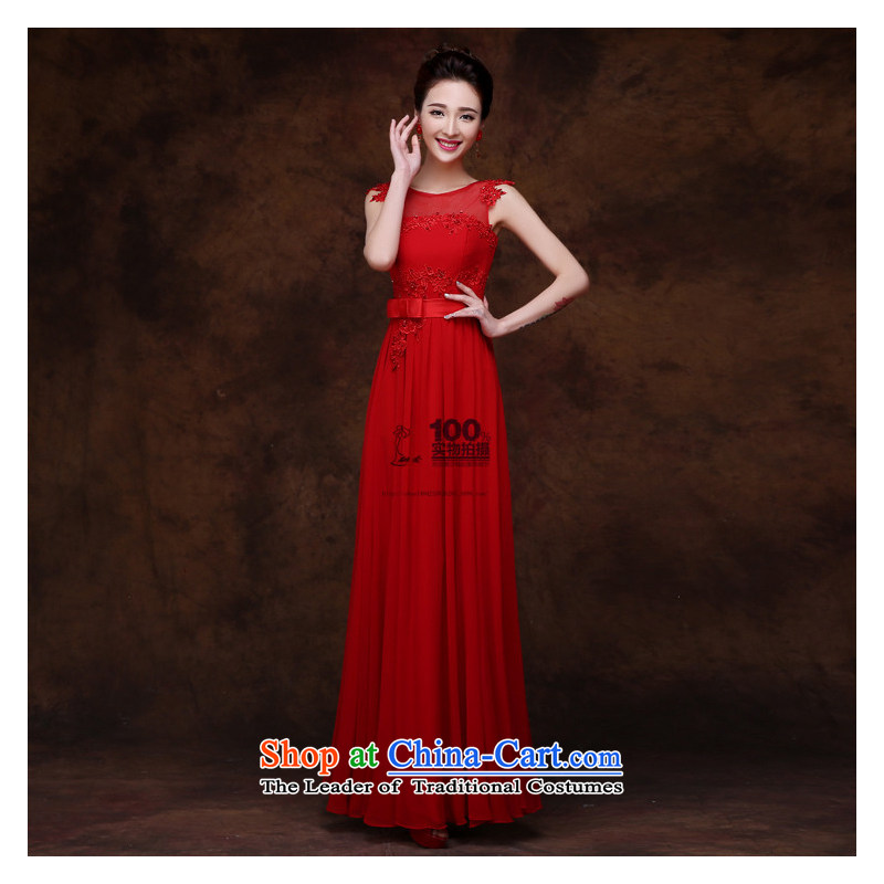 The bride evening dresses Korean shoulders wedding dresses new spring and summer long tie bows married Sau San Services Red�S
