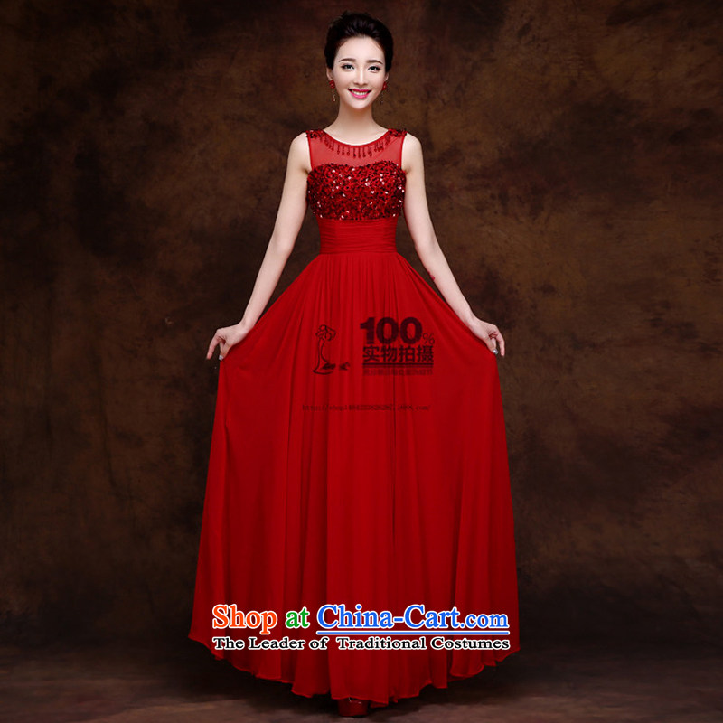 2015 new stylish evening dresses red damask long diamond shoulders dinner dress Show Services Red聽XS