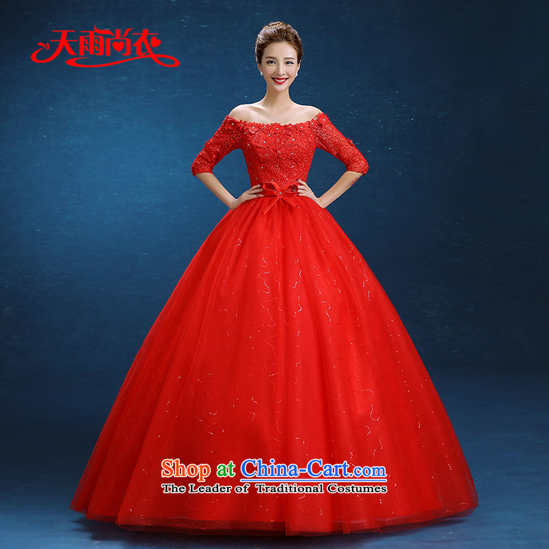 Rain Coat 2015 winter marriage is the new word in the Korean shoulder cuff lace big red code graphics thin bridal dresses wedding HS896 bows red XL