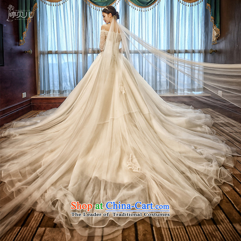 Beverly Ting 2015 new Korean word shoulder length tail marriages larger custom flowers Sau San white L