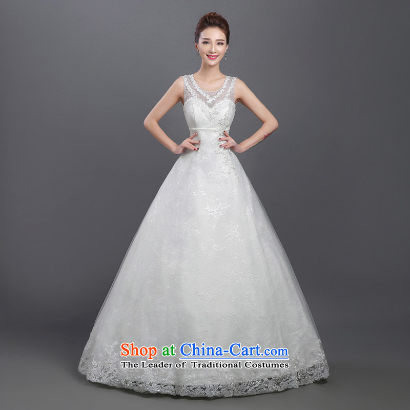 The bride wedding dresses shoulders 2015 new stylish Korean summer sweet to align graphics thin lace retro strap White?XXL