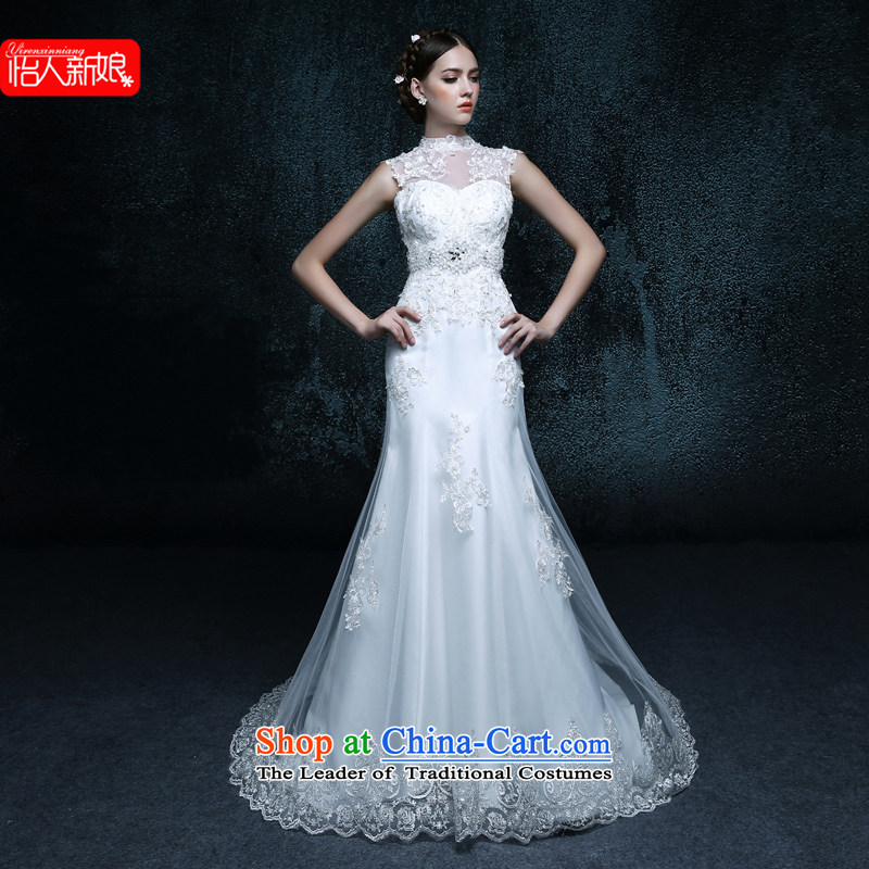 2015 new bride minimalist align to shoulder a crowsfoot drag autumn graphics skinny tail drill lace wedding dress autumn made White