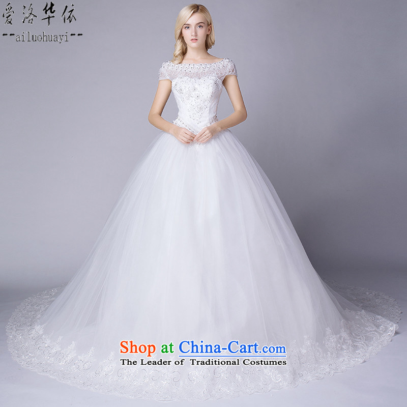Wedding dresses 2015 new continental stylish package shoulder large tail lace flowers will marry Suan white field to align the shoulder white wedding stylish white tail 1.5 M M