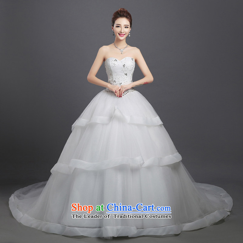 2015 WINTER new bride flowers wedding dresses long tail and chest Korean large Sau San, align the trailing white?XS