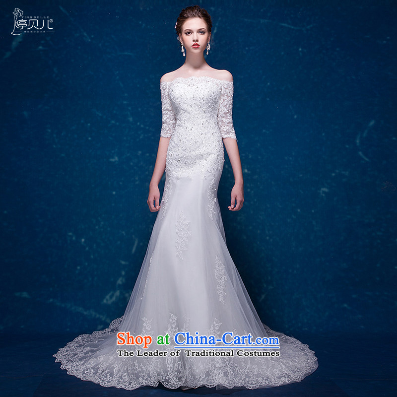 Beverly Ting crowsfoot wedding dresses 2015 New Fall in Korean word cuff shoulder tail wedding winter marriages Sau San white tailored
