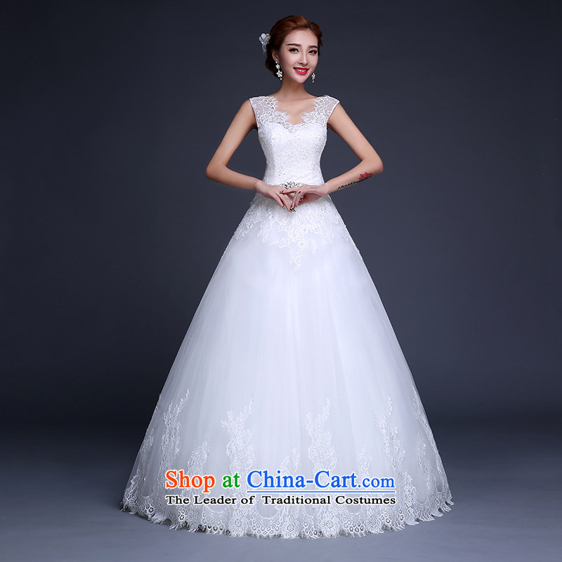 The Republika Srpska divas聽2015 Summer new Korean marriages wedding dresses ivory align to bind with lace diamond V-Neck Sau San video thin shoulders wedding female white tailored