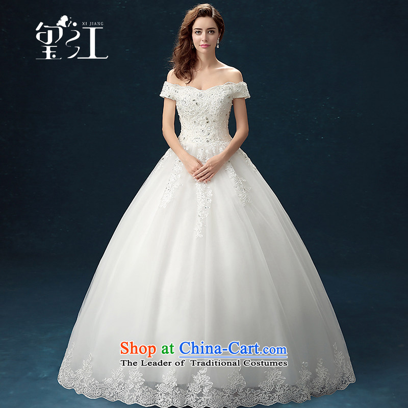 Seal Jiang wedding dresses winter 2015 new products Korean brides wedding dresses wedding dress ivory slotted large shoulder straps long tail wedding video thin to align the Sau San L